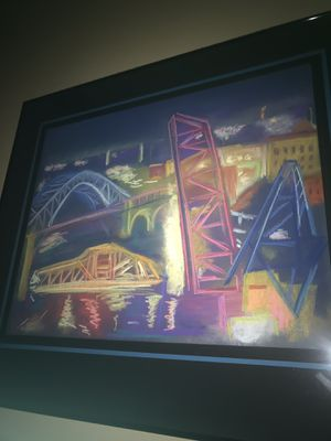 Cleveland's Historic Flats Bridges Done In Chalk for Sale in Cleveland, OH