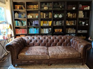 "* * 98"" Sofa / Couch Restoration Hardware Tufted Leather for Sale in Alexandria, VA"