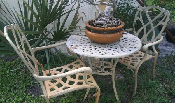 Cast Aluminum Bistro Patio Set With Captain Chairs Cushions Vero Beach Fl