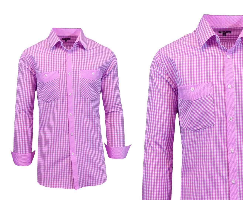 Long Sleeve Dress Shirt For Men, Purple-White, S