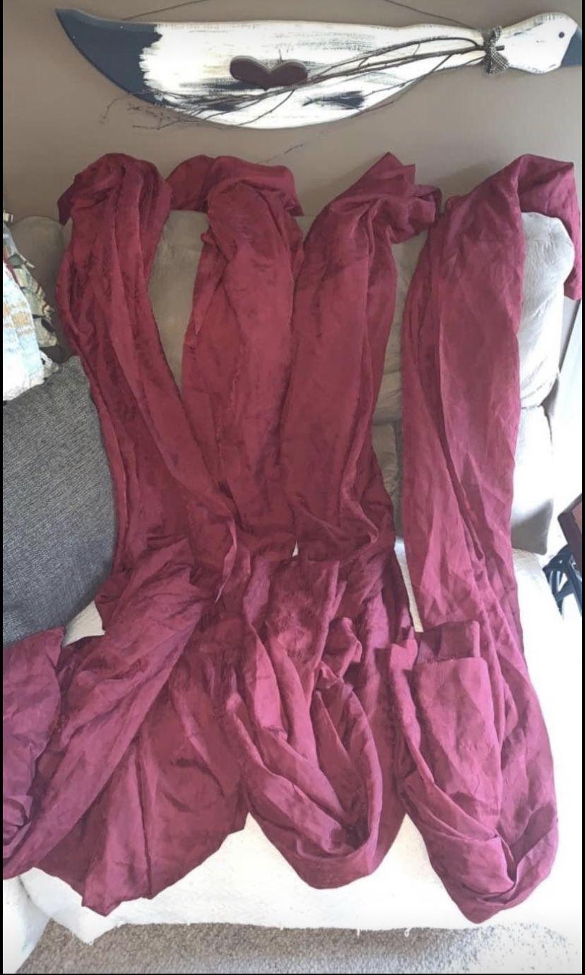 6 sheer burgundy curtain panels