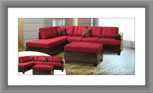 Red sectional brand new free Ottoman and shipping for Sale in Hillcrest Heights, MD