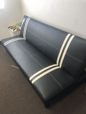 Brand New Black Faux Leather Futon Bed for Sale in Silver Spring, MD