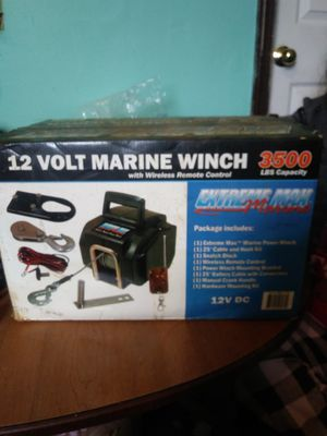 12 volt marine winch with wireless remote control 3500 lbs capacity extreme max marine for Sale in Cleveland, OH