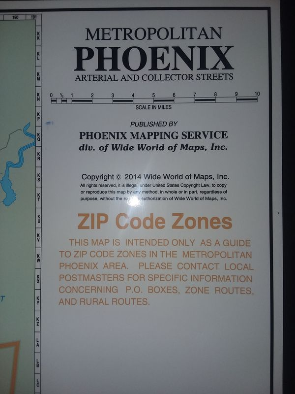 Metro Phoenix Zip Code Map For Sale In Chandler Az Offerup