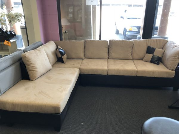 Tan Microfiber Sectional Sofa. Brand New for Sale in Houston, TX ...