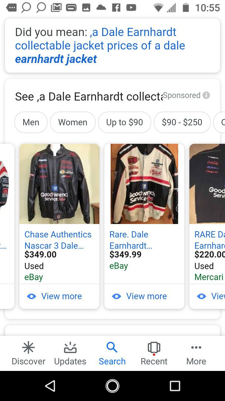 Chase Nascar jacket collectors. Dale Earnheart