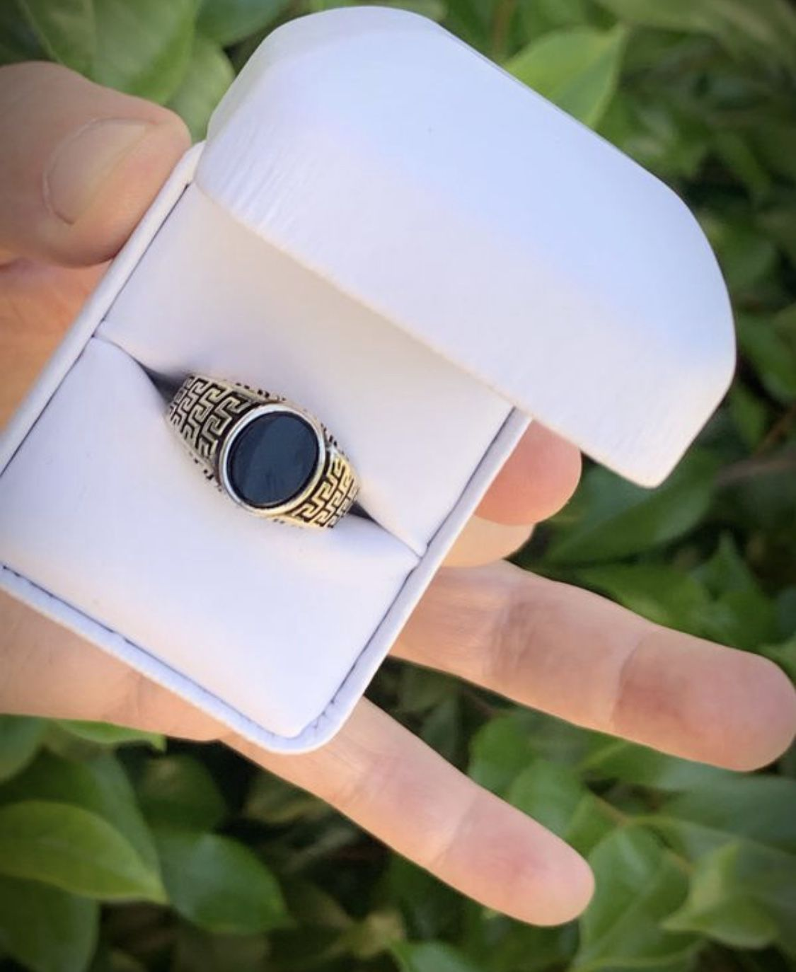 STATELY! Size 9 Solid 925 Sterling Silver GREEK KEY RING Gemstone: Smooth Oval Cut Cabochon Onyx MEN'S WOMEN'S UNISEX