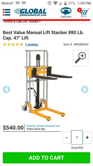 Pallet stacker jack for Sale in Chino, CA