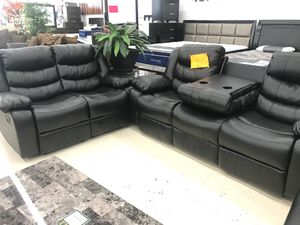 LIVING ROOM SET RECLINING SOFA AND LOVESEAT WITH CUPHOLDERS ON SALE for Sale in Hyattsville, MD