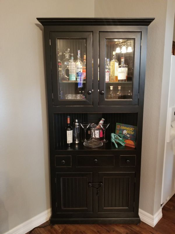 Black Corner Liquor Cabinet Or China Cabinet For Sale In