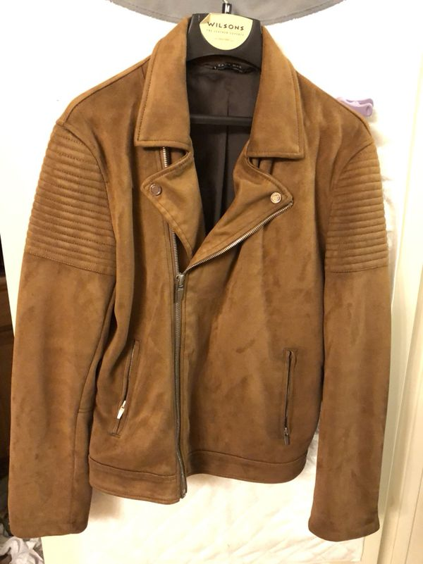 Zara Men S Biker Style Brown Suede Jacket For Sale In Universal City