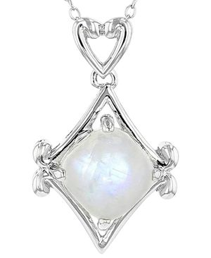 Photo White Rainbow Moonstone Sterling Silver Pendant with Chain