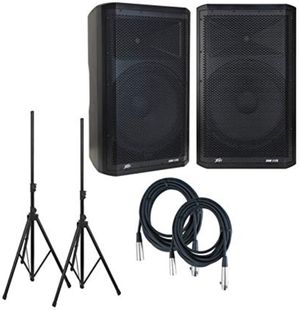 """Pair Peavey DM 115 Dark Matter Pro Audio Powered 15"""" Speaker w/ pair Stands & Cables. for Sale in Orlando, FL"""