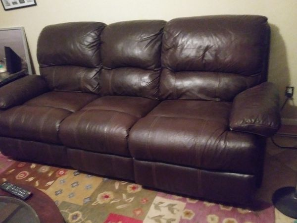 Leather Sofa Love Seat Set With Reclining Both Sides Phoenix Az