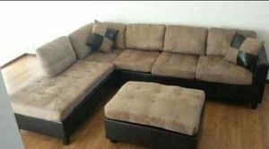 Tan microfiber sectional and ottoman! !! NEW for Sale in Chicago, IL