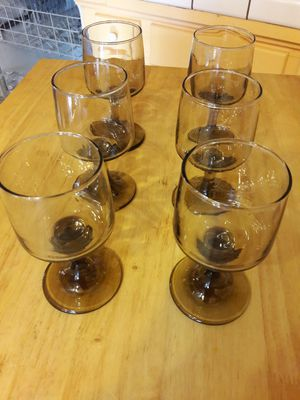 6 Smoked wine glasses for Sale in Tempe, AZ