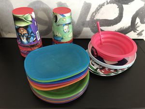 Ikea and more childrens plastic tableware for Sale in Alexandria, VA
