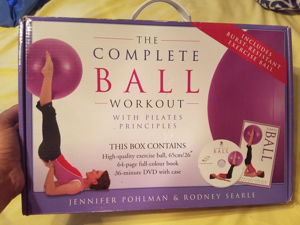 Exercise ball with back support base. Ball is completely new unopened. Base from another ball but perfect condition