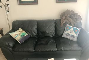 Black Leather Couch for Sale in Arlington, VA