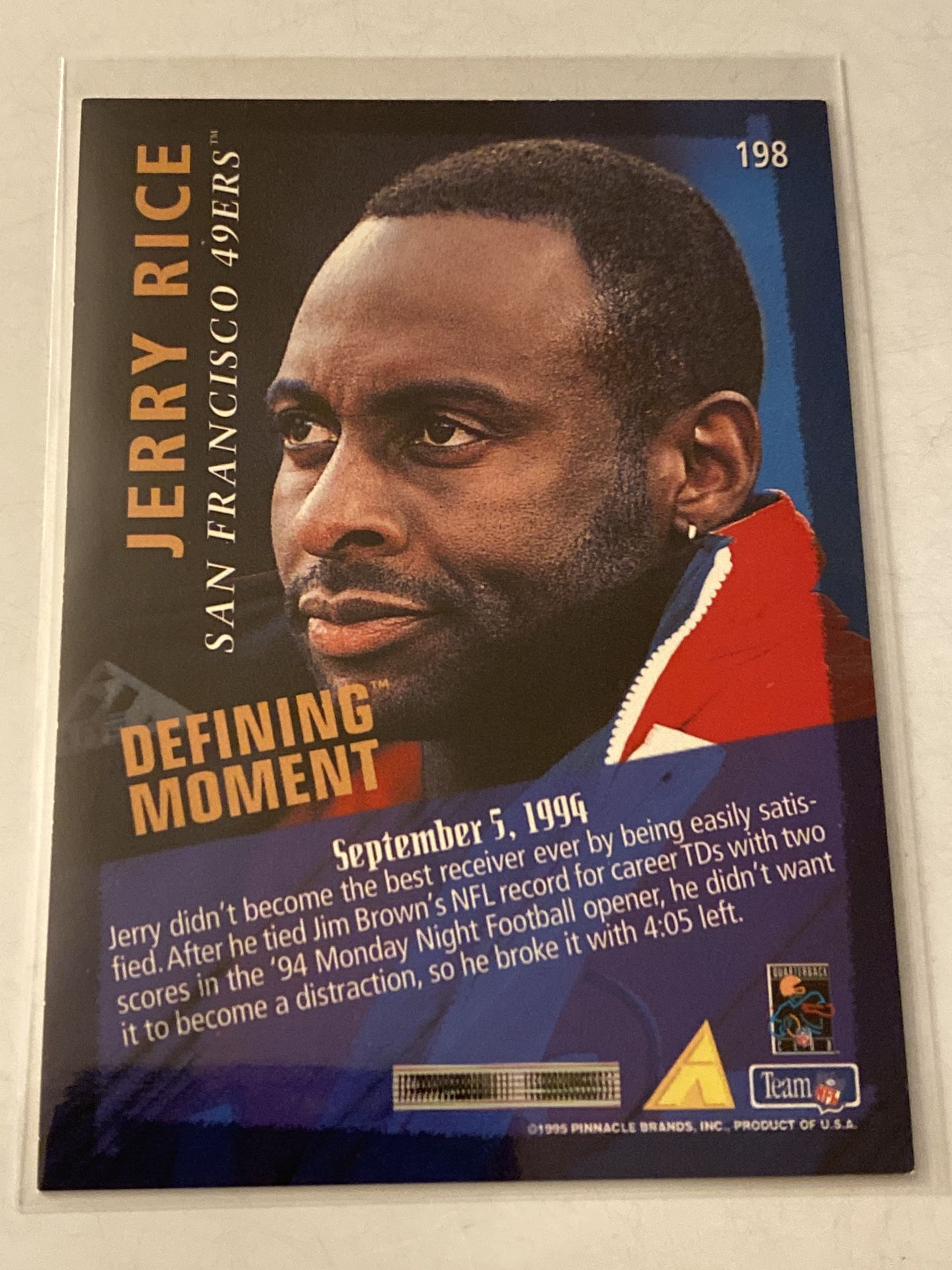 Jerry Rice San Francisco 49ers Hall of Fame WR Pinnacle Card.