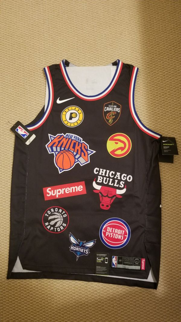 631ca026a9a7 Supreme x NBA x Nike Team Authentic Jersey Black Large 48 for Sale ...