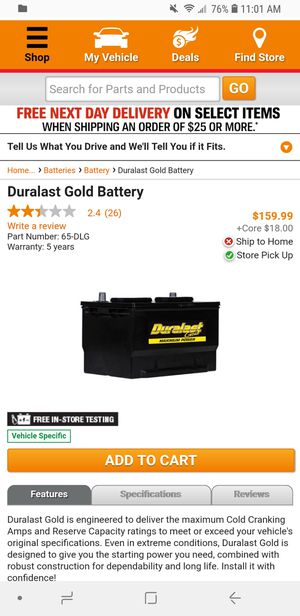 Battery Duralast Gold $80 for Sale in Los Angeles, CA - OfferUp