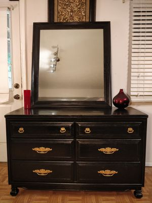 "Like new solid wood dresser with mirror in very good condition, all drawers sliding smoothly, pet free smoke free. L48""*W19""*H30.5"" for Sale in Annandale, VA"