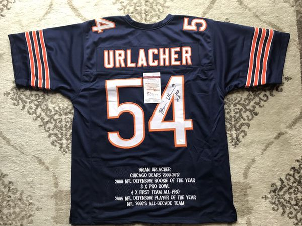 meet 4ee9a 837cd Chicago Bears Brian Urlacher autographed jersey with inscription and stats.  JSA certified with ticket and sticker. for Sale in Lancaster, PA - OfferUp