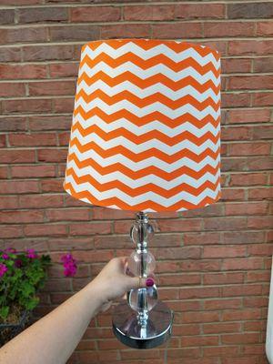 Clear bulb side lamp with orange Chevron shade for Sale in Marietta, GA