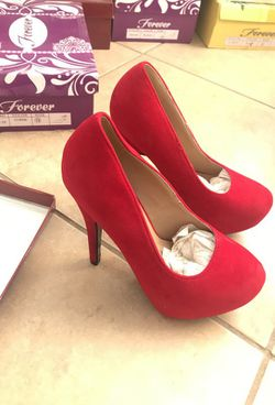 Size 6 Red Suede heels Thumbnail