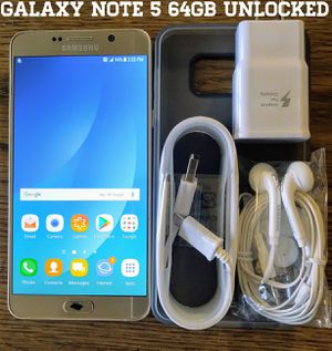 Gold Galaxy Note 5 GSM UNLOCKED 64GB + Accessories for Sale in Falls Church, VA