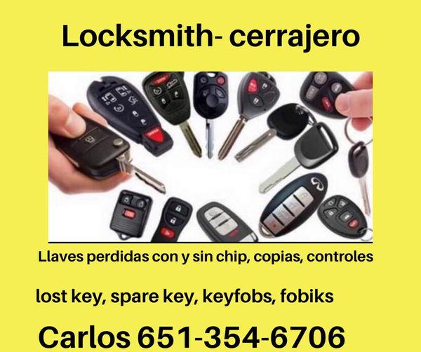 Cerrajero, Llaves Extras O Perdidas Controles Para Carro