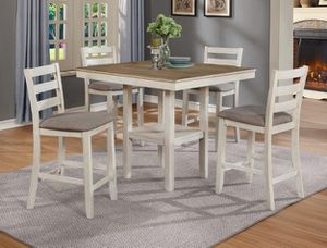 Brand new 5 piece white wood finish counter height dining set for Sale in Takoma Park, MD