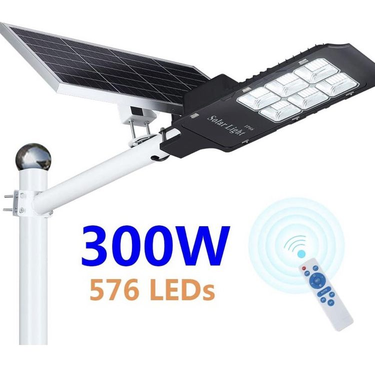 300W LED Solar Street Light, Outdoor Dusk to Dawn Flood Light with Remote Control, Waterproof, Ideal for Parking Lot, Stadium, Yard, Garage and Garden