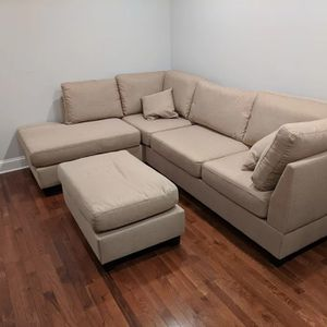 Brand New Sand Color Linen Sectional Sofa Couch + Ottoman for Sale in Chevy Chase, MD