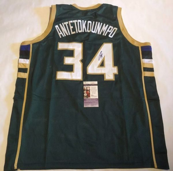 d0a2055e9a5 Autographed Giannis Antetokounmpo Green  34 Signed Bucks Jersey with JSA COA