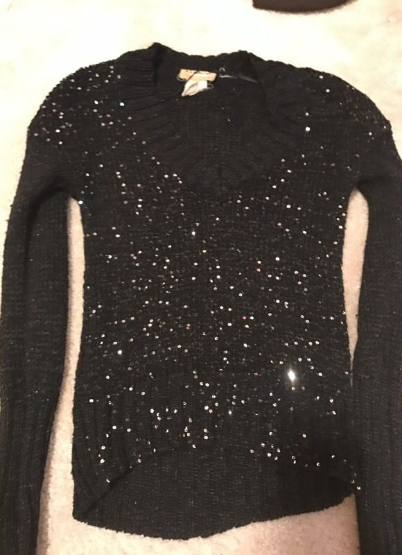 Black sparkly high low sweater