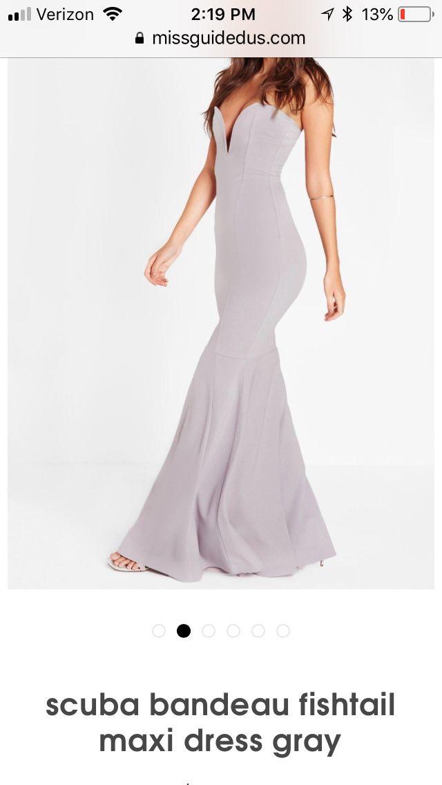 Scuba Bandeau Fishtail Maxi Dress