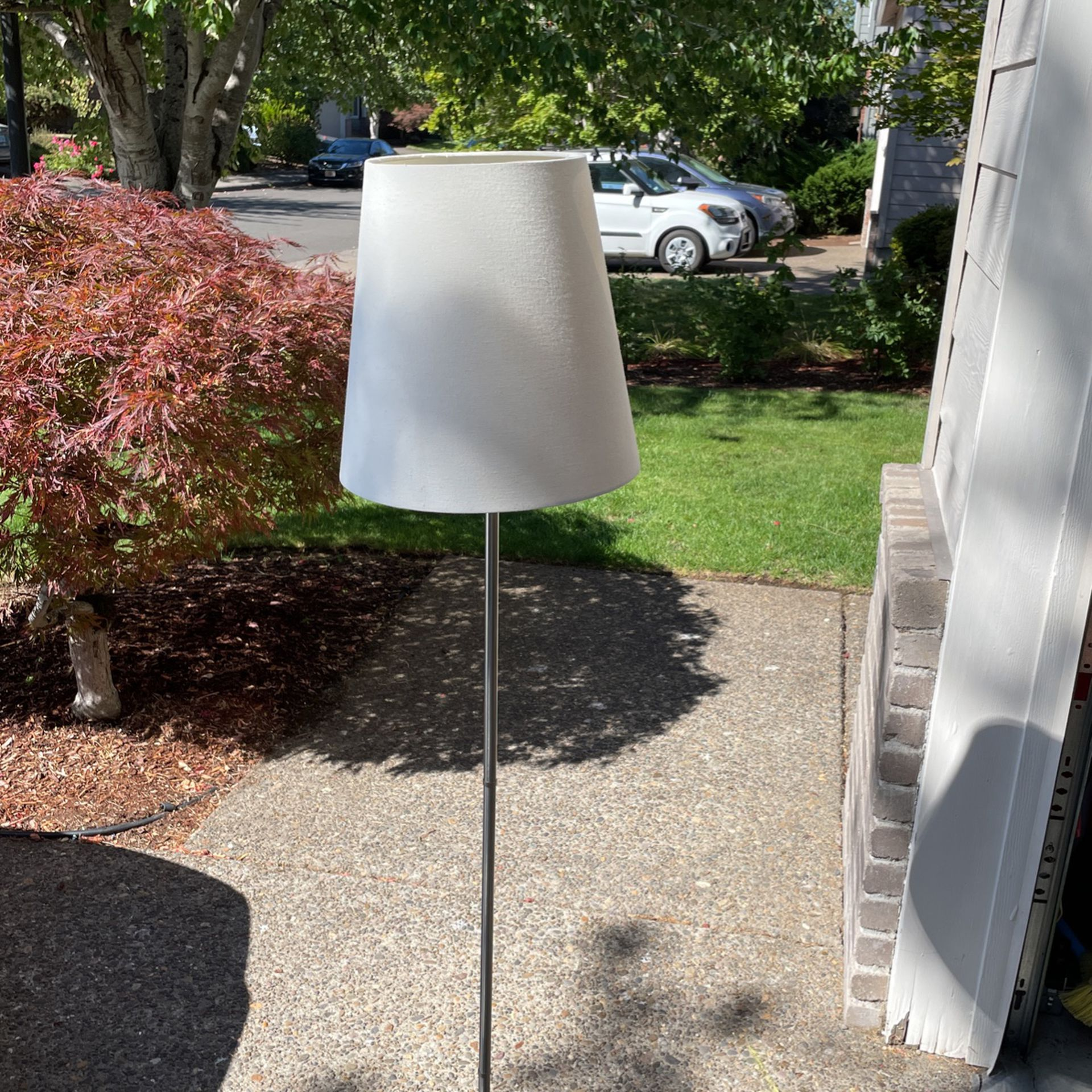 Brushed Nickel Chrome Tall Lamp