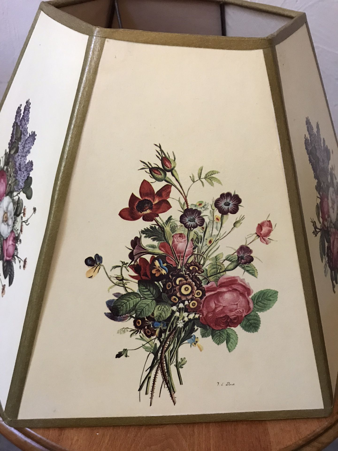 Pair of floral lamp shades by J L Prevost