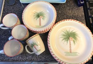 Hand painted Gibson palm tree dish set with chargers for Sale in Washington, DC