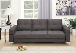 Brand New Ash Black Linen Futon Sofa Bed for Sale in Silver Spring, MD
