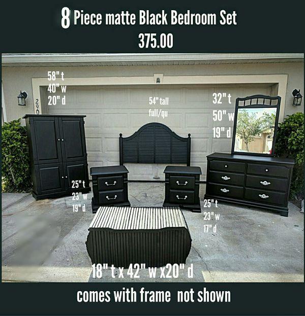 8 Piece Matte Black Full/Queen Bedroom Set for Sale in Saint ...