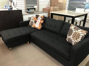 Brand New Black Linen Reversible Sectional Sofa Couch + 2 Accent Pillows for Sale in Silver Spring, MD