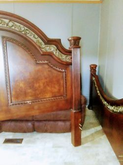 Wood King size bed frame and dresser Thumbnail