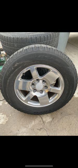 Photo 265/65R18 GMC Sierra Denali Yukon Aluminum Polished 18 inch wheels with good Toyo tires @ 40-50% located in Buena Park