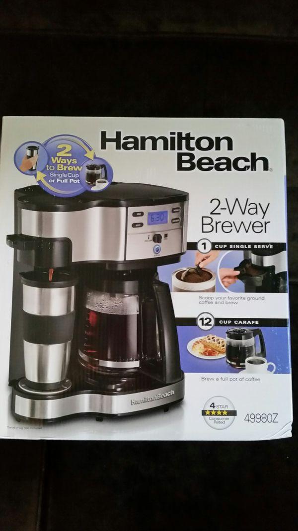 New Hamilton Beach Black 2 Way Brewer Coffee Maker 49980z Coffee