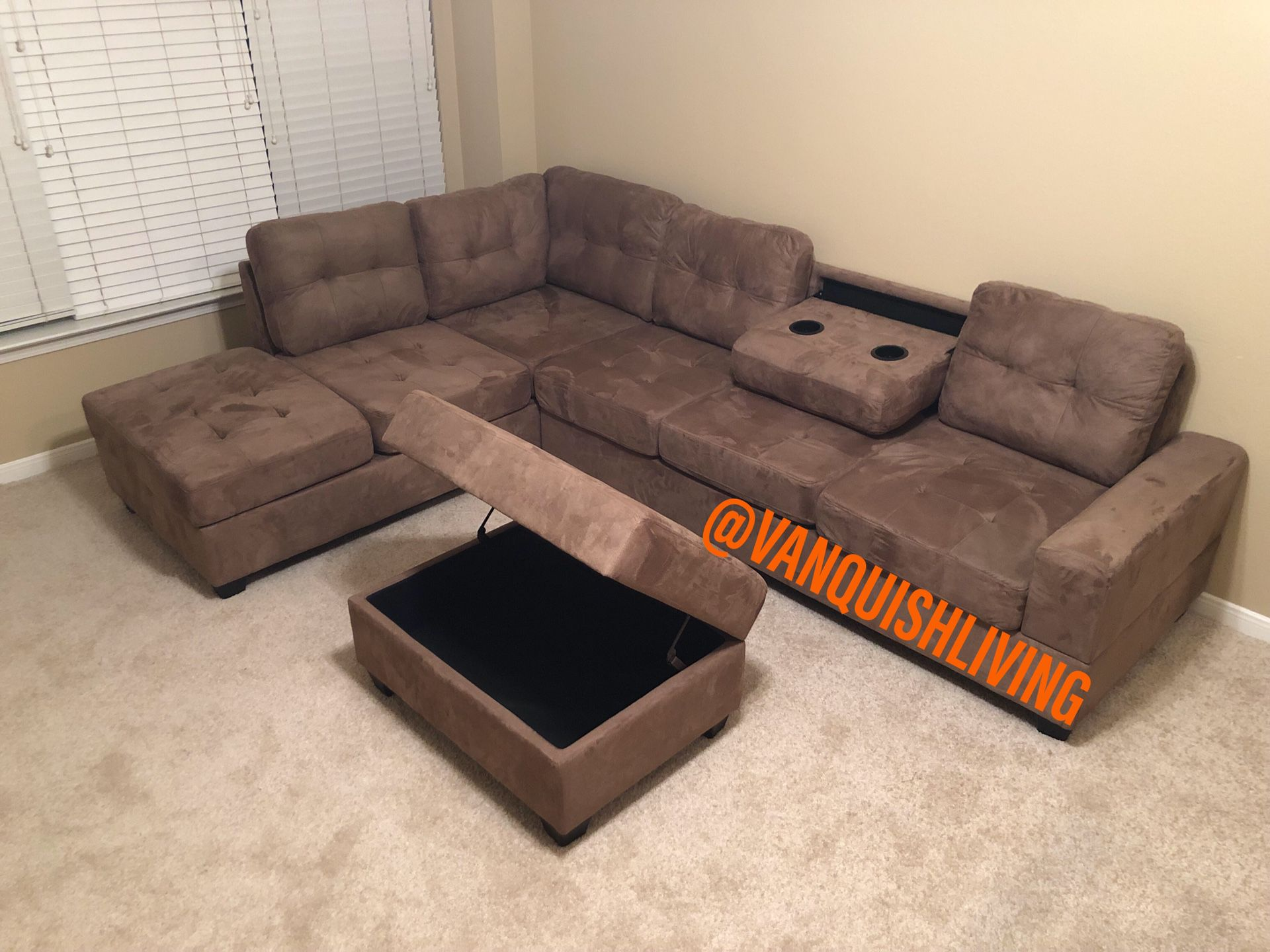 New Taupe Reversible Sectional Sofa With Cup Holders Storage Ottoman