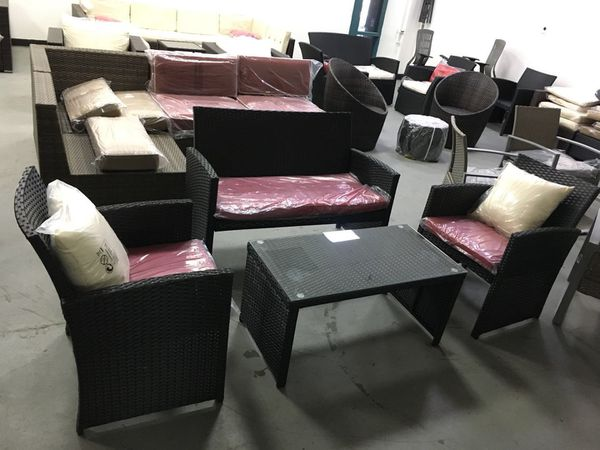 New 4 PC black Rattan Wicker Sofa Set Sectional Cushioned Furniture Outdoor  Patio for Sale in Rancho Cucamonga, CA - OfferUp